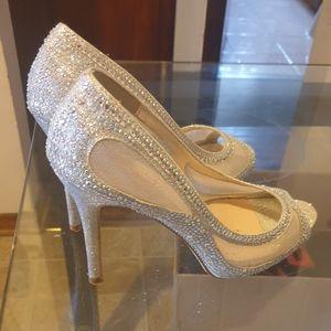 Lauren Lorraine Sparkle High Heel Peep Toes.